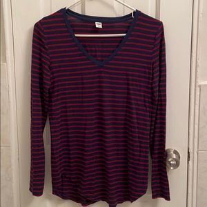 Old Navy red & blue striped luxe long sleeve tee